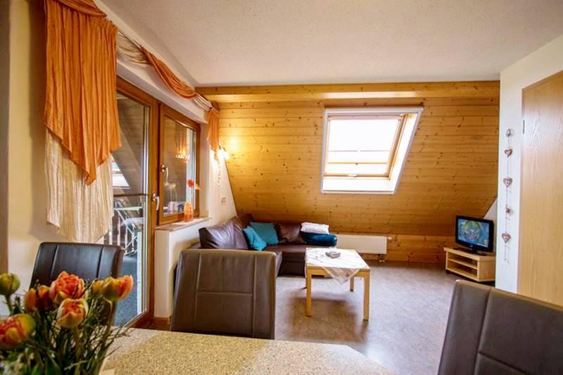 Wohnecke mit Couch und TV in der Ferienwohnung Feldberg